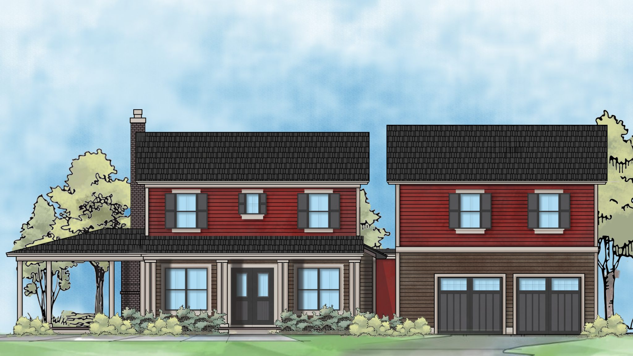 color rendering of two story residential home design - elevation