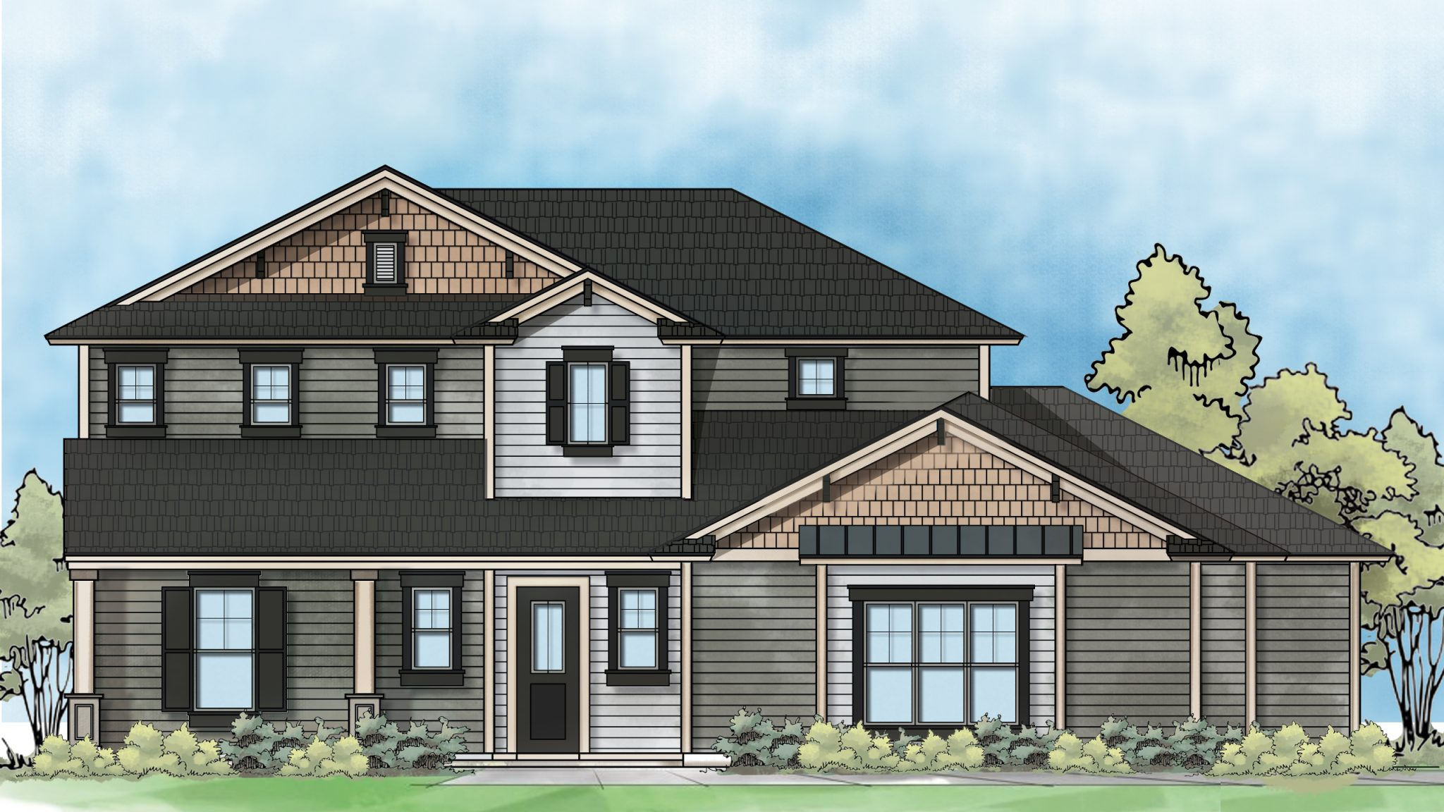 color rendering of residential home design - elevation