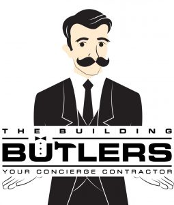 butler holding sign for the building butlers logo